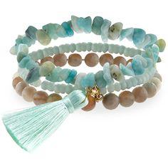 Panacea Amazonite Stretch Bracelet Set ($32) ❤ liked on Polyvore featuring jewelry, bracelets, mint, tassel jewelry, tassel bracelet, stretch jewelry, mint green jewelry and chain bracelet