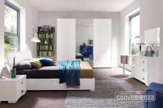 CITY - Camera matrimoniale colore bianco laccato lucido con armadio 3 ante scorrevoli con specchio centrale, letto contenitore, come foto (escluso materasso e coperture)