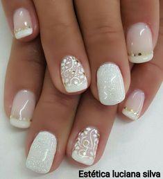 Lace Wedding Nails, Vintage Wedding Nails, Glitter Wedding, Stylish Nails, Trendy Nails, Simple Nail Art Designs, Nail Designs, Acrylic Nails Coffin Pink, Pearl Nails