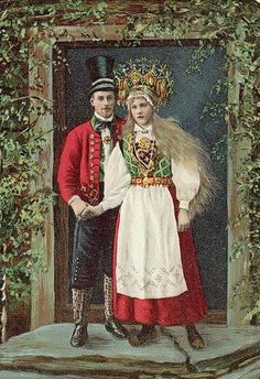 A Swedish woman with long blonde hair holds the hand of a young man in a top hat and a red Swedish Fashion, Folk Fashion, Lund, Norwegian Vikings, Norwegian Wedding, Swedish Women, Wedding Postcard, Bridal Crown, Vintage Photography