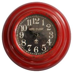 Antiqued wall clock with a red finish.   Product: Wall clockConstruction Material: Metal and glassCol...