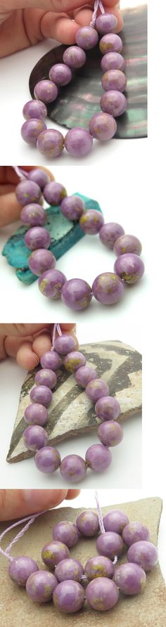 Other Loose Gemstones 282: 14 Rare Chile 10-10.3Mm Purple Lavender Phosphosiderite Round Beads 99.6Cts BUY IT NOW ONLY: $34.0
