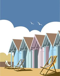 Beach Huts. By Illustrator Dave Thompson wholesale fine art print