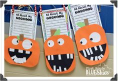 Pumpkin Week {FREEBIES} Lots of ideas for pumpkin and fall crafts crafts first grade 1st Grade Writing, First Grade Classroom, Kindergarten Writing, Literacy, Halloween Activities, Autumn Activities, Halloween Crafts Kindergarten, Classroom Halloween Party, Halloween Math