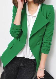 Fashion Women Green Lapel Long Sleeve...