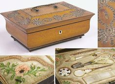 Victorian Fruitwood Sewing Box