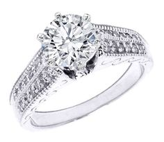 Engagement Ring - Vintage Diamond Engagement Ring Double row pave diamonds