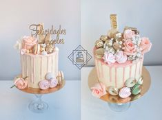 Drip cake con flores naturales