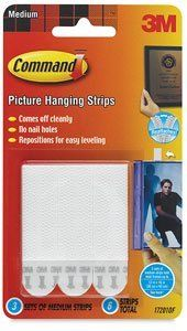 3M Command Picture Hanging Strips - Medium, Picture Hanging Strips, Pkg of 6 by 3M. $2.99. There is no need for nail holes with 3M Command Picture Hanging Strips! Ideal for hanging pictures, the interlocking fastener adheres firmly when placed on a flat surface. When it's time to remove the fastener, it comes off cleanly without surface damage.