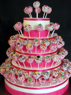 oooh, cake pop wedding cake. could change the color scheme to purple and champagne.