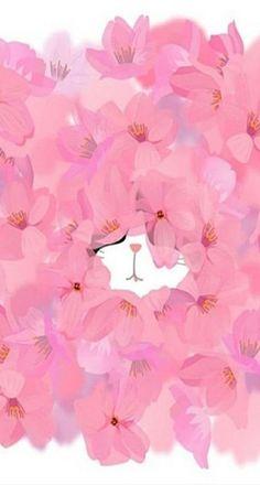 cat hidden in flowers iphone background ♡