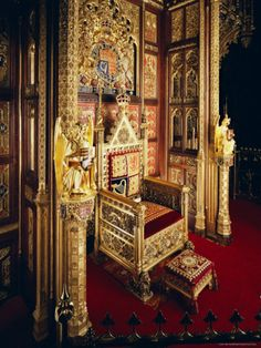 The Throne, House of Lords, Houses of Parliament, Westminster, London, England