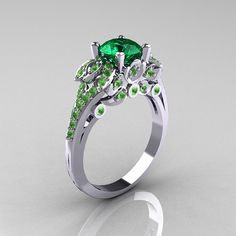 Classic 14K White Gold 1.0 CT Emerald Peridot by DesignMasters, $1299.00