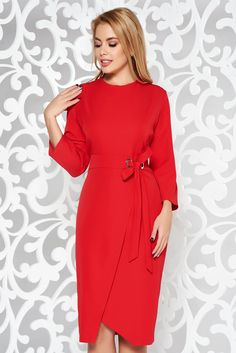 Red elegant pencil dress slightly elastic fabric accessorized with tied waistband Pencil Dress, Mall, High Neck Dress, Dresses For Work, Tie, Woman Fashion, Sleeves, Fabric, Tela