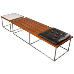 1stdibs | 1950's Mid-century Nelson Style Slat Bench and Matching Table