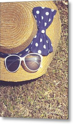 Summer Hat Metal Print featuring the photograph Sun Hat On Dry Australian Grass Background by Ryan Jorgensen