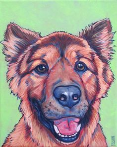 Chewy the Chow and German Shepherd Mixed Breed Dog Custom Pet Portrait Painting  from Pet Portraits by Bethany.