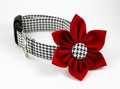 Dog Collar and Flower Set - Classic Houndstooth in Lipstick Red - Made to Order in Your Choice of Size Cute Dog Collars, Cat Collars, Aggressive Dog, Girl And Dog, Pet Clothes, Dog Clothing, Animal Crafts, Diy Stuffed Animals, Dog Accessories