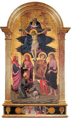 Apollonio di Giovanni, Trinita fra i santi Cosma, Damiano, Giuliano, Sebastiano e Francesco, ca. 1450 Galleria dell'Accademia, Firenze