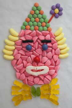 un clown en bonbons