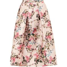 Ted Baker Jirily Blossom Jacquard Midi Skirt, Mid Pink ($245) ❤ liked on Polyvore featuring skirts, bottoms, ted baker, floral flare skirt, metallic midi skirt, midi flare skirt, knee length flared skirts and metallic pleated skirt