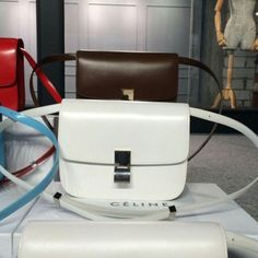 Free Shipping !Cheap 2015 Celine Bags Outlet-Celine Classic Bag in White Slick-surfaced Leather