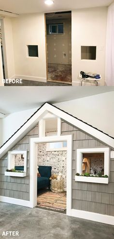 And After: The Sweetest Small Indoor Playhouse! (Chris Loves Julia) Before And After: The Sweetest Small Indoor Playhouse!Before And After: The Sweetest Small Indoor Playhouse! Kids Indoor Playhouse, Build A Playhouse, Closet Playhouse, Indoor Playroom, Playhouse Kits, Backyard Playhouse, Playhouse Decor, Garage Playroom, Playhouse Interior