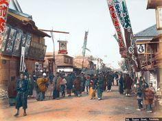 Kusakabe Kimbei 日下部 金兵衛 (1841-1934) Theatre Street, Yokohama - Hand-colored…