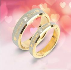 Forever Love Fashion High Quality Titanium Steel Cubic Zirconia Couple Rings Lovers Rings (Price For a Pair)