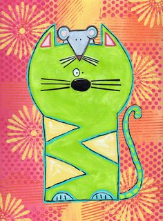 Cat Art-Cat Painting-Cat Decor-Whimsical Cats-Original-9 X 12