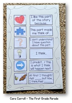 Reader's workshop thinking stickies. I like this because it requires the student to think through their reading, and not just read. Reading Lessons, Reading Strategies, Reading Skills, Teaching Reading, Guided Reading, Reading Logs, Reading Groups, Close Reading, Readers Workshop Kindergarten