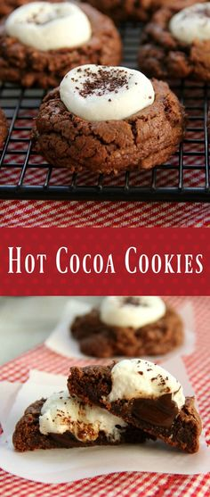 Hot Cocoa Cookies  - Rich chocolate cookies stuffed with melted chocolate and a gooey marshmallow on top!