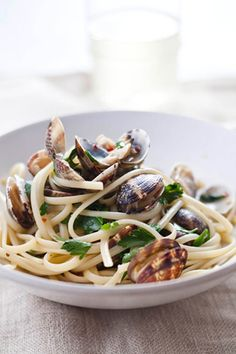 "Linguine with Clams - From Mario Batali's new iPhone/iPad app, ""Mario Batali Cooks!:"" Taken from Goop newsletter"