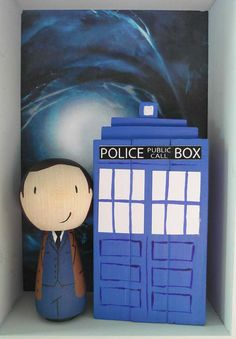 Dr Who and Tardis Cake Topper  hand painted wooden doll