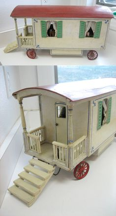 "Antique German Wooden Dollhouse Caravan (19"") by Moritz Gottschalk, 1910~Image © Sondra Krueger Antiques"