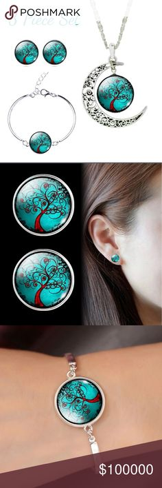 Glass Cabochon 3-piece Jewelry Set Datura Bloom Tree Set Includes: 1 necklace & 1 bracelet & 1 pair earrings  Metal: Copper (chain & earring setting), Alloy Brand Name: Jiayiqi Fashion Jewelry Material: glass Pattern Color: Green, Multicolor Metal Color: Silver Jewelry