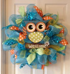 "24"" Owl welcome spring wreath"