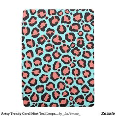 Artsy Trendy Coral Mint Teal Leopard Animal Print iPad Pro Cover