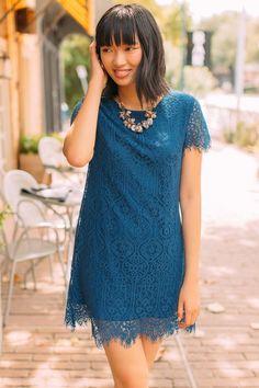 Vanna Scalloped Lace Shift Dress