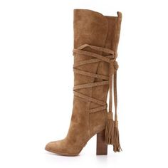 Michael Kors Collection Jessa Suede Wrap Boots (€200) ❤ liked on Polyvore featuring shoes, boots, bota, heels, leather shoes, real leather boots, wrap boots, heeled boots and leather heel boots