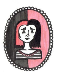 by @maggie_creates_ @maggiestopko  black & pink cute girl sad