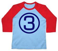Third birthday tshirt Raglan 3/4 Sleeve 3rd shirt by FreshFrogTees, $18.95