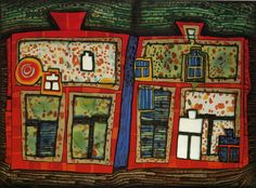 Hundertwasser 764A 2 TO 13 SWIMMING WINDOW, Japanese Colour Wood Cut, 1979