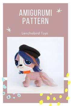 073 Amigurumi dog pattern by Lenchobird. Crochet Purple Dog Zoe. Crochet cartoon animal pattern. Amigurumi puppy INSTANT DOWNLOAD #crochettoy #crochetpattern