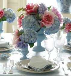 Tablescape, blue hydrangeas, cottage, shabby chic, beach house, vintage