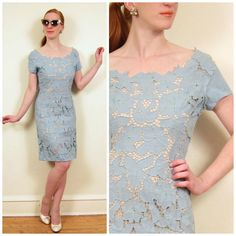 Vintage 1960s Blue Cutwork Lace Dress / 60s Short Sleeved Cocktail Dress / Small to Medium