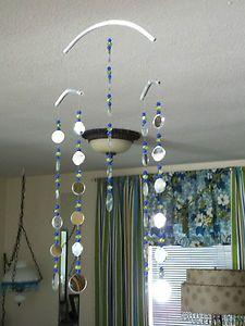 Glass Bead Mirror Indoor Outdoor Sun Catcher Mobile Blue Green Garden Bling   eBay
