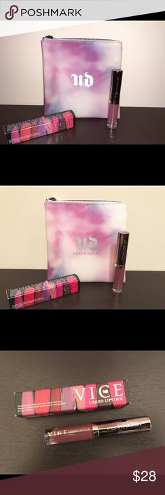 "New: Urban Decay Vice Liquid Lipstick & Beauty Bag New: Urban Decay Vice Liquid Lipstick & New Urban Decay  Cosmetic Beauty Bag  Vice Liquid Lipstick full size, waterproof, Color: ""Unbroken"" resembles a brown tan color & Very cute New ""limited edition"" Tie Dye Urban Decay Branded cosmetic bag. Measures approximately 6.5 inches in length and 6.5 inches height 💋 Urban Decay Makeup"