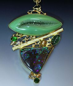 """Tribute to Georgia O'Keeffe"". Boulder opal pendant with mint drusy quartz, diamond, tourmaline & pearl in 22k & 18k gold."