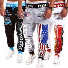 Mens-Casual-Sweatpants-Jogger-Dance-Sportwear-Baggy-Harem-Slacks-Trousers-USZJS